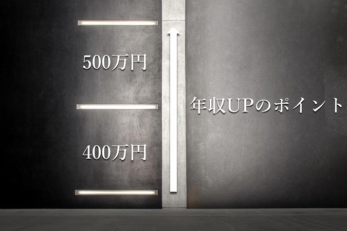 年収400万円→500万円。年収UPのポイント。
